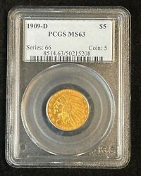 1909-d Indian Head 5 Gold Half Eagle Pcgs Ms-63 Nice Uncirculated Coin