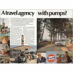 1968 Gulf Oil Travel Agency With Pumps Vintage Print Ad
