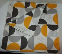 Set Decorative Pillow Covers Half Circles in Squares Yellow White Gray 18quot; x 18quot;
