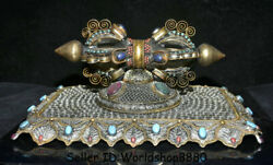 14 Old Tibet Silver Wire Crystal Inlay Turquoise Phurba Dagger Holder Statue