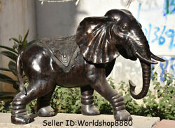 28.8 Antique Old Chinese Bronze Feng Shui Animal Elephant Auspicious Statue