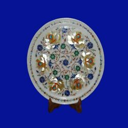Marble Inlay Plate Pietra Dura White Stone Arts Crafts Handicraft And Home Decor