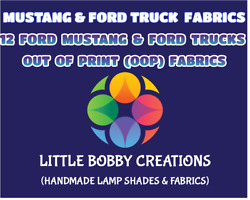 12 Ford Mustang And Ford Truck Oop Cotton Fabrics - 1/4 Yard 9 X 43 Rare