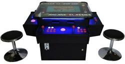 Classic Arcade Machine Cocktail Table 1162 Games 3 Sided Player Panel Trackball
