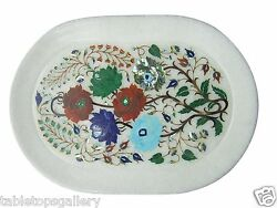 12x18 Marble Serving Tray Plate Real Mosaic Gems Pietradure Inlaid Gifts H1160