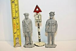 Vintage Cast Lead Toy Navy Sailor And Soldier - 2 1/4 Tall Unpainted And Sign