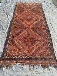 """Old Authentic Hand Knotted Vintage Kurdish Wool Carpet 117"""" X 53"""""""