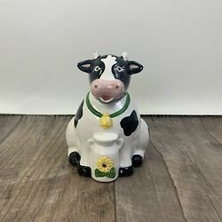 Black And White Ceramic Cow Coin Bank