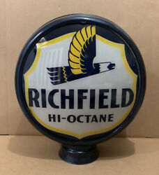 Vintage Richfield Rocor Glass Gas Pump Globe Original Garage Ethyl Sign Lens