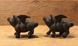 Small Cast Iron Flying Pig Paperweight 1lb And 3 3/4 Long Set Of Two 10006