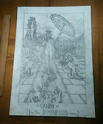 Original Pencil Drawing Cover Art From The Goddesses And Demonesses Series