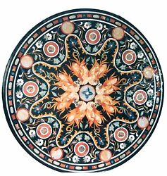 30x30 Black Marble Round Coffee Table Top Marquetry Inlay Mosaic Decor H1536