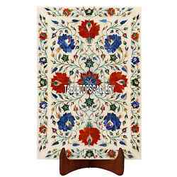 15''x10'' White Marble Tray Plate Inlaid Multi Floral Wedding Decor Gifts H3650