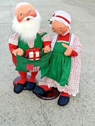 """Vintage Made In Usa Retired 1983 Annalee Dolls Santa Claus And Mrs Claus 30""""❤️sj8m"""