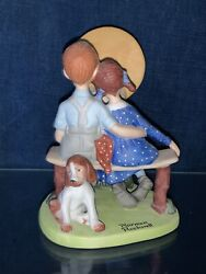 Vintage Retired Norman Rockwell Art Porcelain Young Love By Light Of Moon ❤️sj8m