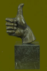 100 Solid Thumbs Up Hand Sculpture Home Office Decoration Figurine Deal Bronze
