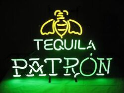 Patron Tequila Whiskey Cocktails Neon Light Lamp Sign 24x20 Bar Decor Glass