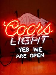 Coors Light Mountain Beer We Are Open Neon Light Lamp Sign 24x20 Decor Glass