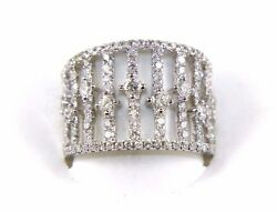 Natural Round Diamond Long Cluster Ladyand039s Wide Ring Band 14k White Gold 1.38ct