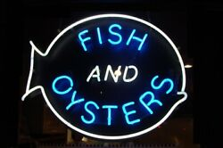 Fish And Oysters Seafood Open Neon Light Lamp Sign 24x20 Beer Bar Real Glass