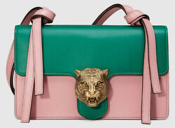 Animalier Tiger Head Claps Pink And Green Calfskin Leather Flap Shoulder Bag