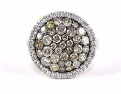 Natural Round Gray Diamond Cluster Ladyand039s Ring 14k White Gold 2.16ct