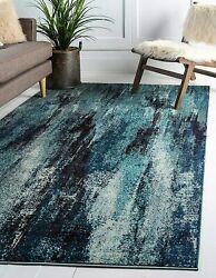 Unique Loom Jardin Collection Vibrant Abstract Blue Area Rug 5and039 0 X 8and039 0