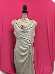 Lauren Ralph Lauren Evening White Gold Metallic Dress w jewel P002JS $19.95