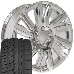 Chrome 22 Wheels And Brdigestone Tires Fit Chevy Gm Cadillac High Country Chrome