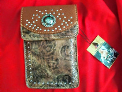 Touchscreen Cell Phone Crossbody Wallet Phone Bag Western Boho Black or Brown $26.99