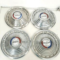 Vintage 1963 Ford Car 14 Hubcaps Wheelcovers Set Of 4 Stock F314