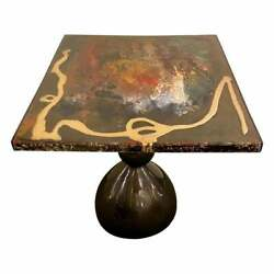 Abstract Design Mid-century Modern Center Or End Table In Resin On Black Epoxy