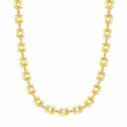 14k Yellow Gold Square Link Womens Necklace 17