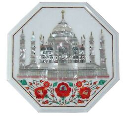 1.5and039 White Marble Side Table Top With 18 Stand Tajmahal Inlay Home Decors W184a
