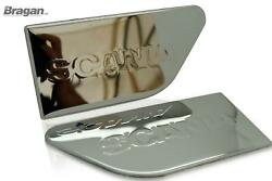 Side Wing Name Plate 2pc For Scania 4 P G R 6 Series Chrome Stainless - Type C