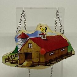 Wooden Barn Vintage Toy Necklace Pendant. Large Farm 22 Inches Animals