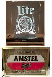 2- Bar-top Lighted Beer Signs Both Working Lite Beer And Amstel Light