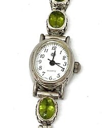 Happy Piasso Navajo Sterling Silver Watch Band W Peridot Faceted Stones Signed