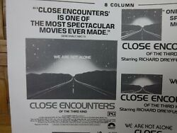 Close Encounters Of The Third Kind Movie Mini Ad Sheet Vtg Advertising Poster
