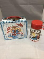 Vintage 1973 Junior Miss Metal Lunchbox And Thermos W/ Thermo Bottle Instructions