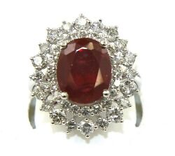 Natural Oval Pink Ruby And Diamond Solitaire Ladyand039s Ring 14k White Gold 7.37ct