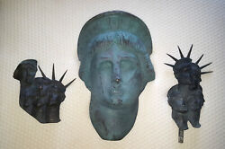 Lot of 3 Gabriel Grun Yantorno 100% Bronze Statues Lady Liberty No Stands Bases