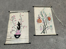 Ooak Oil Painting Chinese Silk Scrolls Lantern And Flowering Orchids 37/24 ❤️sj8m