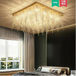 Modern Dimmable Led Crystal Lamp Titanium Gold Living Room Ceiling Dining Room