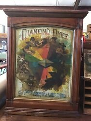 """Antique Diamond Dyes Store Counter Cabinet Tin And Wood """"evolution Of Woman"""" C1890"""