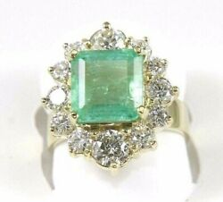 Natural Emerald And Diamond Halo Solitaire Square Ring 14k Yellow Gold 5.52ct