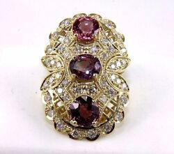 Natural Oval Pink Spinel And Diamond Cluster Long Ring 14k Yellow Gold 8.49ct