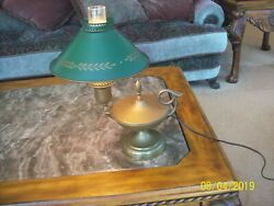 Toleware Genie Design Green And Gold And Brass Vtg Aladdin Table Desk Electric Lamp