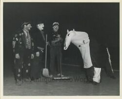 Clown With Brooms And Horse Costume Puppet Vintage Circus Photo