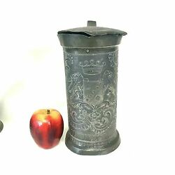 Rare 19th C French Pewter 2 Litter Cider Beer Stein Pitcher W Family Crest Grix